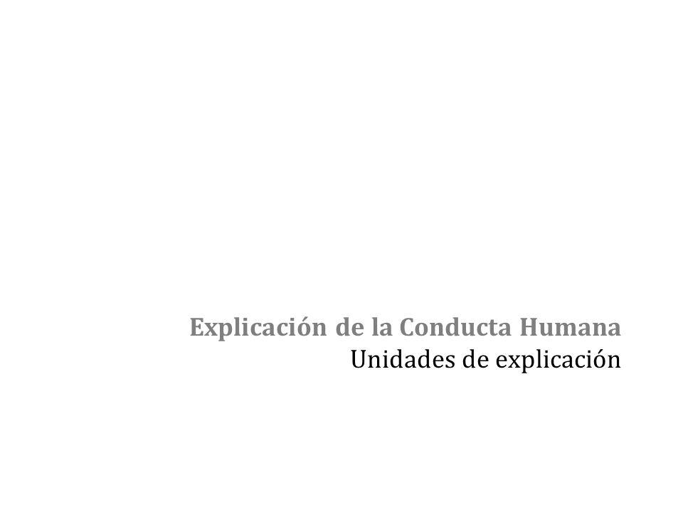 Explicación de la Conducta Humana Unidades de explicación