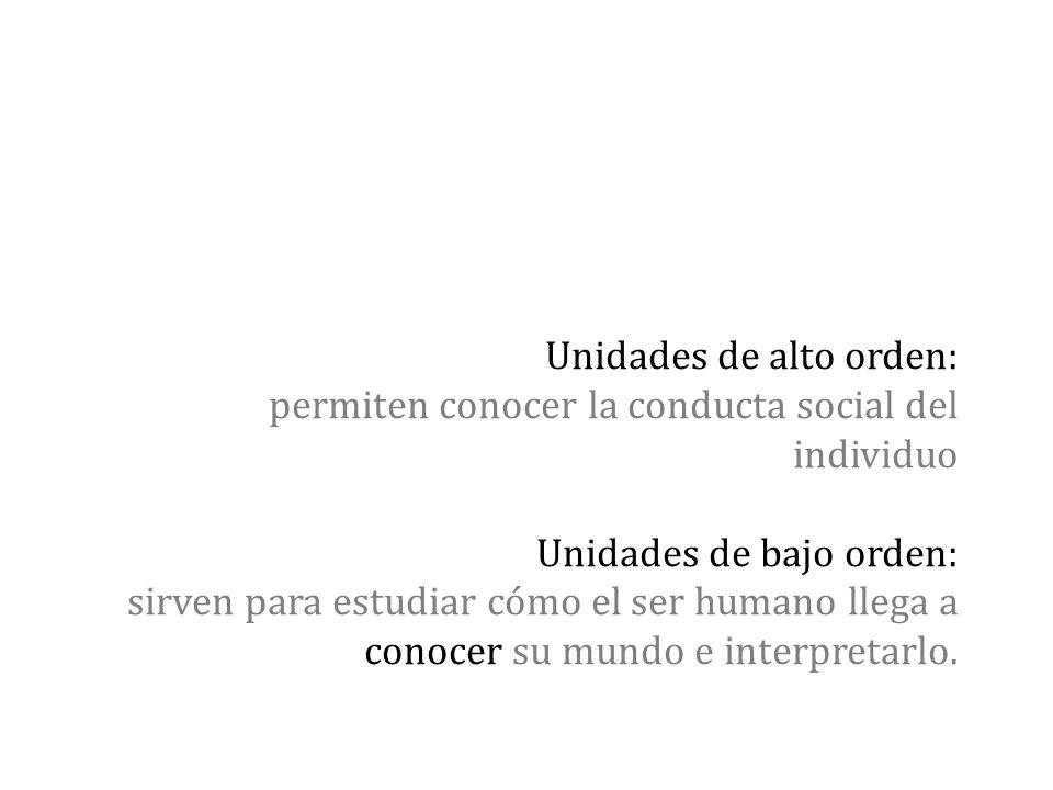 Unidades de alto orden: permiten conocer la conducta social del individuo Unidades de bajo orden: sirven para estudiar cómo el ser humano llega a cono