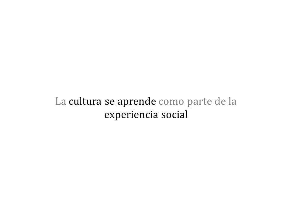 La cultura se aprende como parte de la experiencia social
