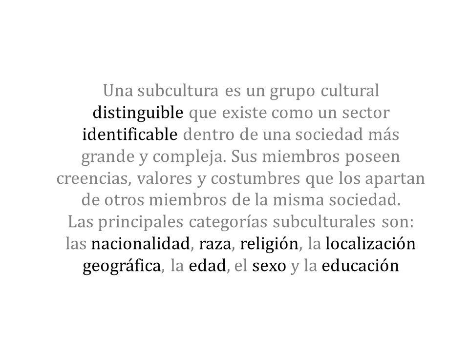 Una subcultura es un grupo cultural distinguible que existe como un sector identificable dentro de una sociedad más grande y compleja. Sus miembros po