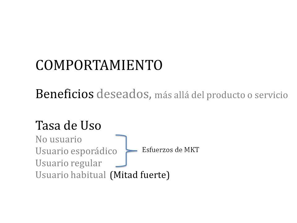 COMPORTAMIENTO Beneficios deseados, más allá del producto o servicio Tasa de Uso No usuario Usuario esporádico Usuario regular Usuario habitual (Mitad