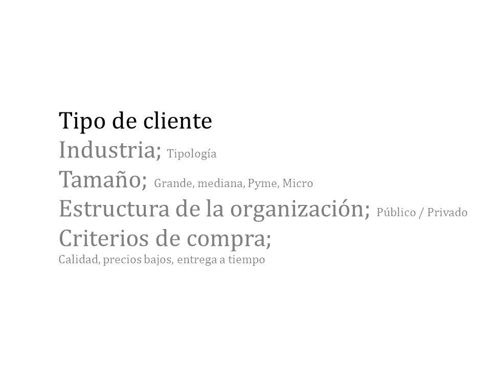 Tipo de cliente Industria; Tipología Tamaño; Grande, mediana, Pyme, Micro Estructura de la organización; Público / Privado Criterios de compra; Calida