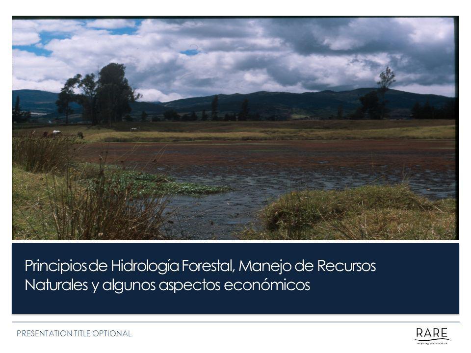 Principios de Hidrología Forestal, Manejo de Recursos Naturales y algunos aspectos económicos PRESENTATION TITLE OPTIONAL