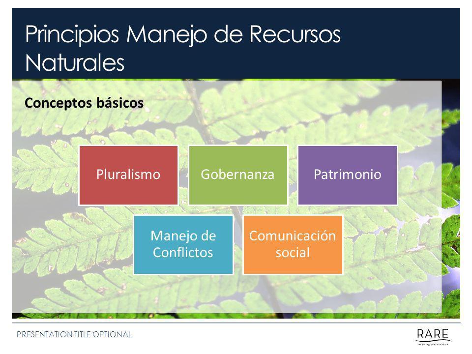 Principios Manejo de Recursos Naturales PRESENTATION TITLE OPTIONAL Conceptos básicos PluralismoGobernanzaPatrimonio Manejo de Conflictos Comunicación