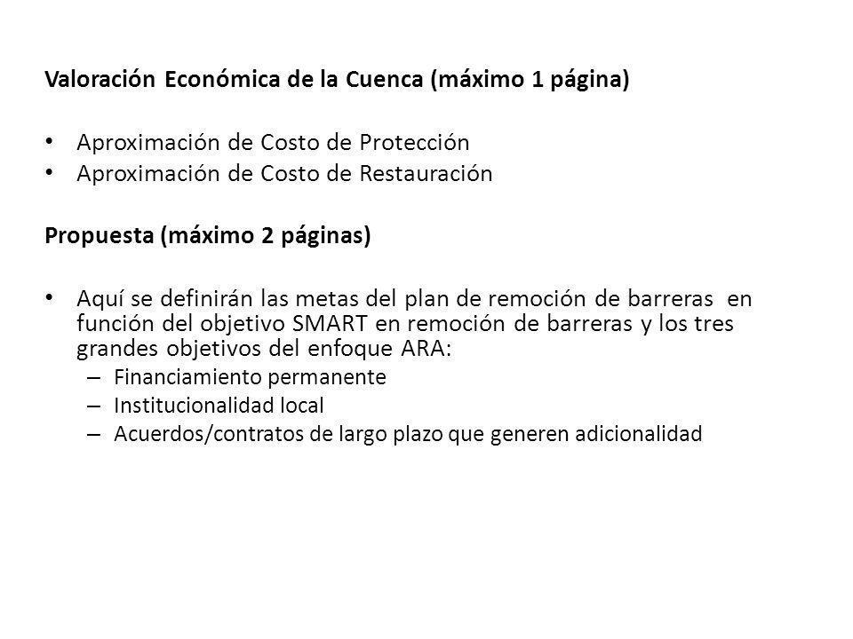 Valoración Económica de la Cuenca (máximo 1 página) Aproximación de Costo de Protección Aproximación de Costo de Restauración Propuesta (máximo 2 pági
