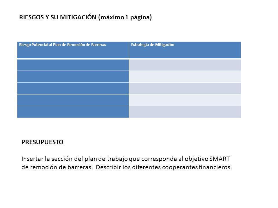 RIESGOS Y SU MITIGACIÓN (máximo 1 página) Riesgo Potencial al Plan de Remoción de BarrerasEstrategia de Mitigación PRESUPUESTO Insertar la sección del