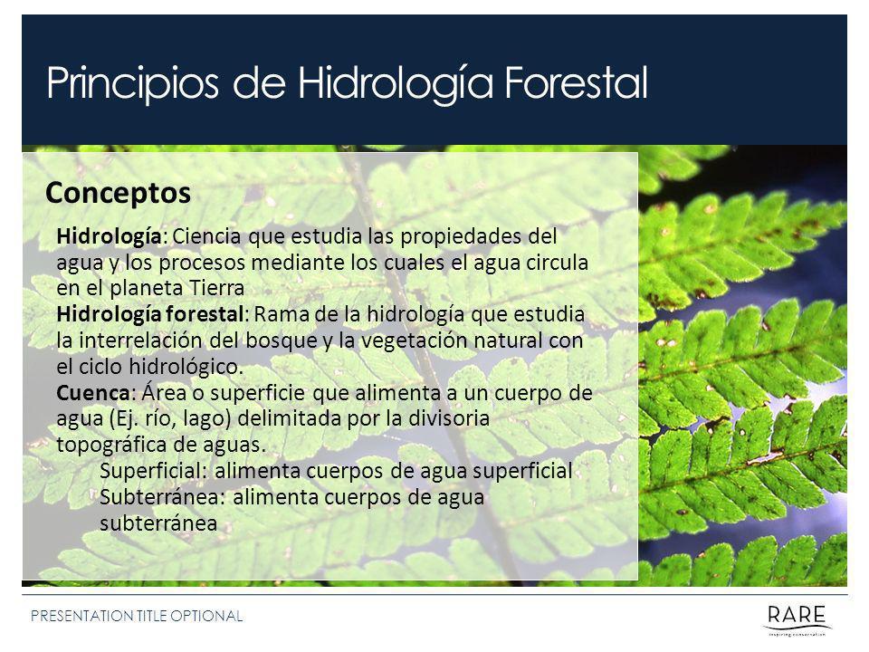 Principios de Hidrología Forestal PRESENTATION TITLE OPTIONAL Conceptos Hidrología: Ciencia que estudia las propiedades del agua y los procesos median