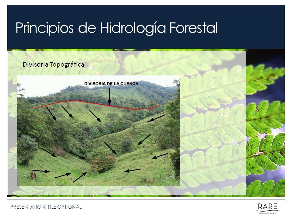 Principios de Hidrología Forestal PRESENTATION TITLE OPTIONAL Divisoria Topográfica