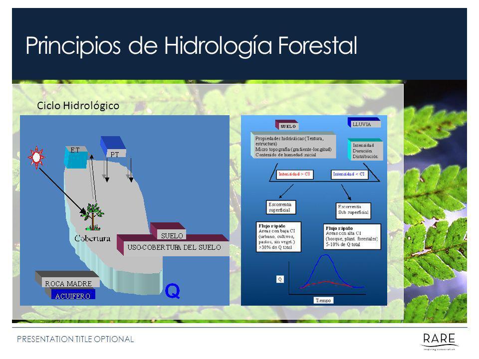 Principios de Hidrología Forestal PRESENTATION TITLE OPTIONAL Ciclo Hidrológico