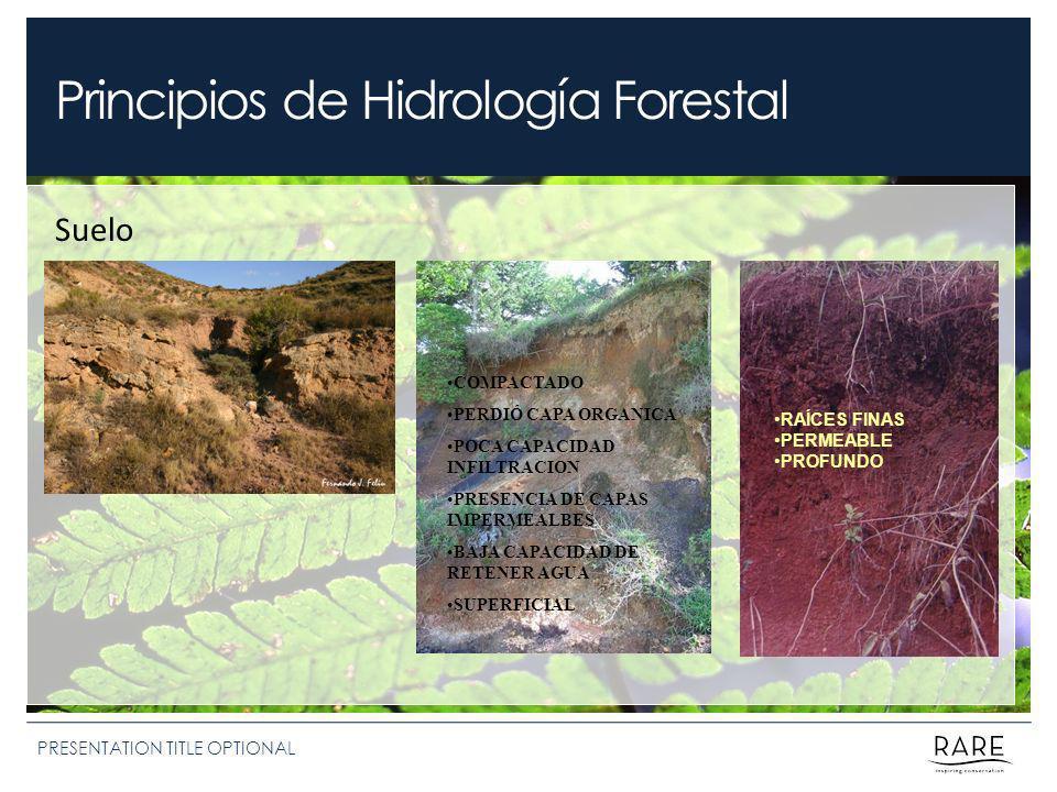 Principios de Hidrología Forestal PRESENTATION TITLE OPTIONAL Suelo RAÍCES FINAS PERMEABLE PROFUNDO COMPACTADO PERDIÓ CAPA ORGANICA POCA CAPACIDAD INFILTRACION PRESENCIA DE CAPAS IMPERMEALBES BAJA CAPACIDAD DE RETENER AGUA SUPERFICIAL