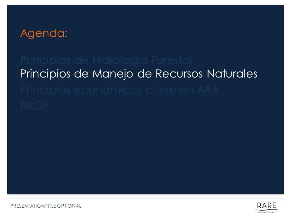 Agenda: Principios de Hidrología Forestal Principios de Manejo de Recursos Naturales Principios económicos clave en ARA BROP PRESENTATION TITLE OPTIONAL