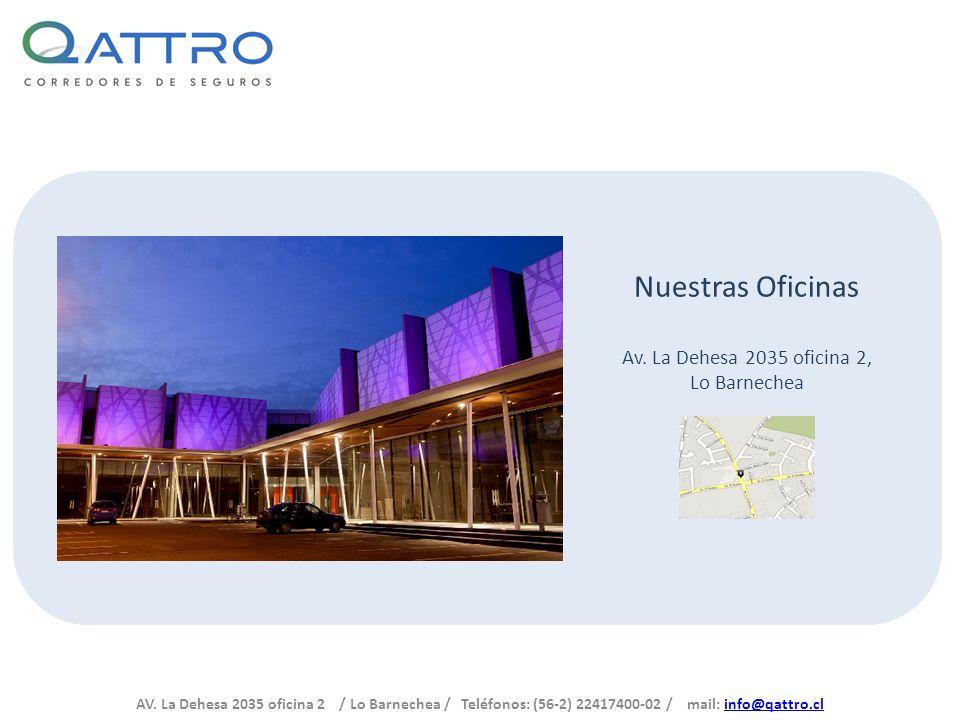 AV. La Dehesa 2035 oficina 2 / Lo Barnechea / Teléfonos: (56-2) 22417400-02 / mail: info@qattro.clinfo@qattro.cl Nuestras Oficinas Av. La Dehesa 2035