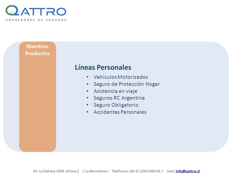 AV. La Dehesa 2035 oficina 2 / Lo Barnechea / Teléfonos: (56-2) 22417400-02 / mail: info@qattro.clinfo@qattro.cl Nuestros Productos Líneas Personales
