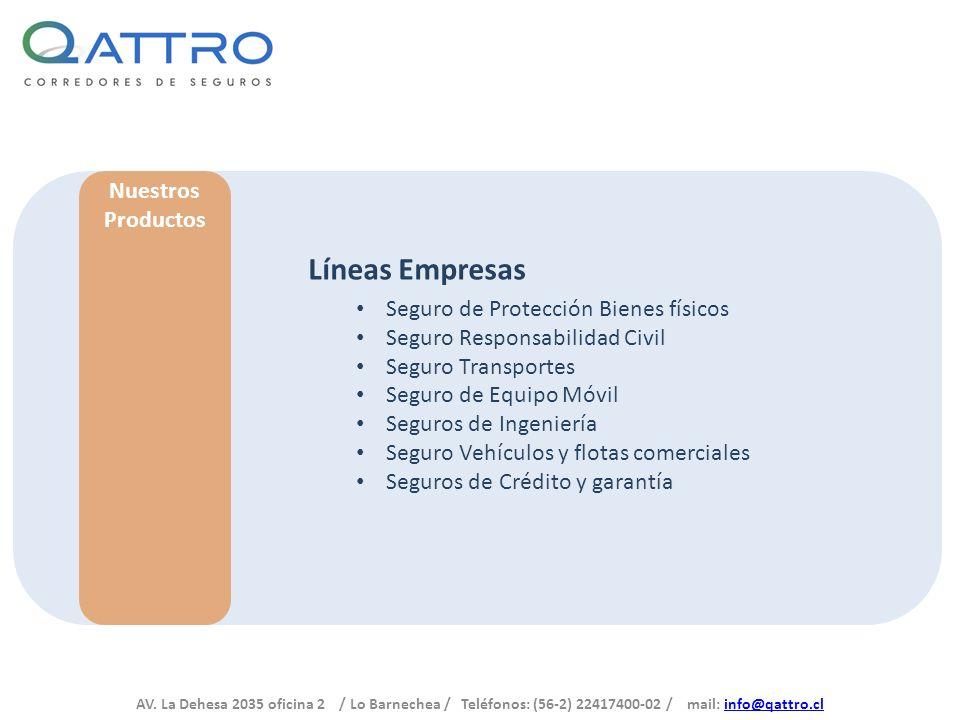 AV. La Dehesa 2035 oficina 2 / Lo Barnechea / Teléfonos: (56-2) 22417400-02 / mail: info@qattro.clinfo@qattro.cl Nuestros Productos Líneas Empresas Se