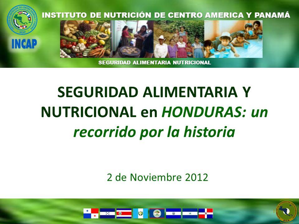 SEGURIDAD ALIMENTARIA NUTRICIONAL INSTITUTO DE NUTRICIÓN DE CENTRO AMERICA Y PANAMÁ SEGURIDAD ALIMENTARIA Y NUTRICIONAL en HONDURAS: un recorrido por