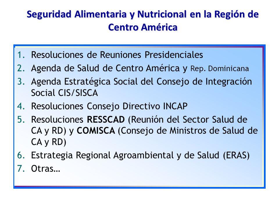 1.Resoluciones de Reuniones Presidenciales 2.Agenda de Salud de Centro América y Rep. Dominicana 3.Agenda Estratégica Social del Consejo de Integració
