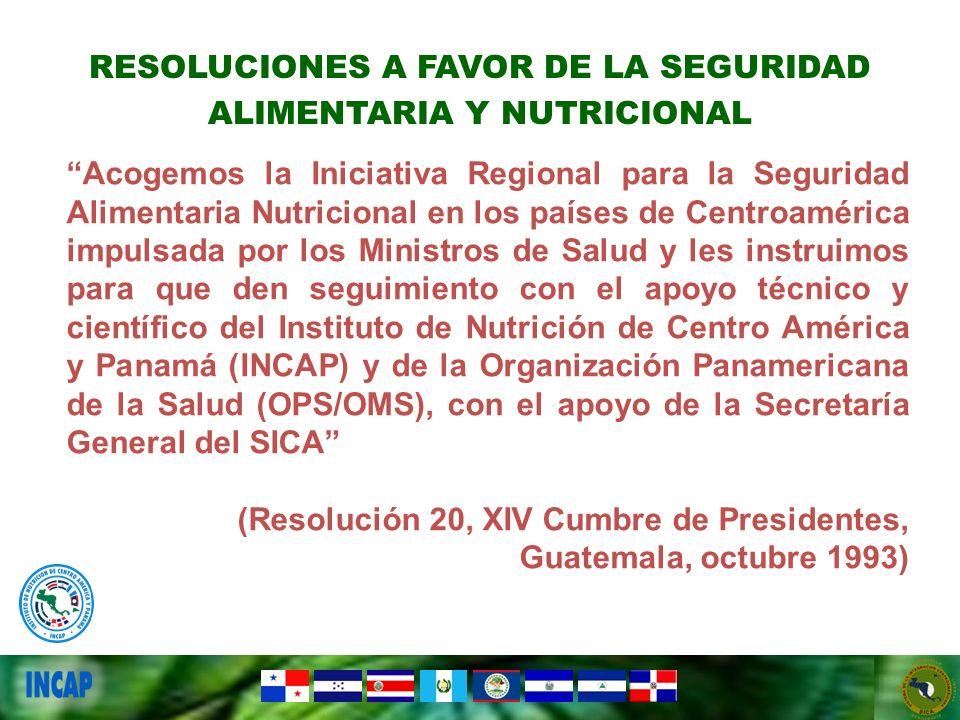 Acogemos la Iniciativa Regional para la Seguridad Alimentaria Nutricional en los países de Centroamérica impulsada por los Ministros de Salud y les in