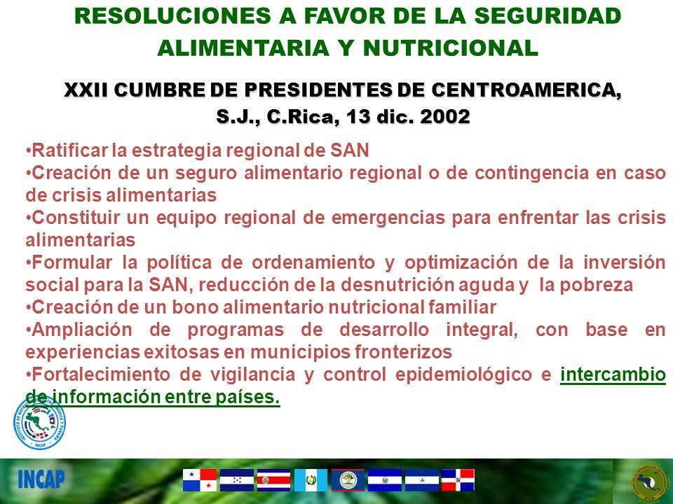 Ratificar la estrategia regional de SAN Creación de un seguro alimentario regional o de contingencia en caso de crisis alimentarias Constituir un equi