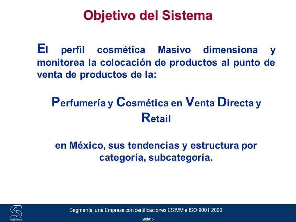 Slide: 6 Segmenta, una Empresa con certificaciones ESIMM e ISO 9001-2000 Planteamiento Fabricante 1 Base de Datos Mercado Masivo Fabricante 2 Fabricante 3Fabricante n Reporte Panelistas Fabricante 4