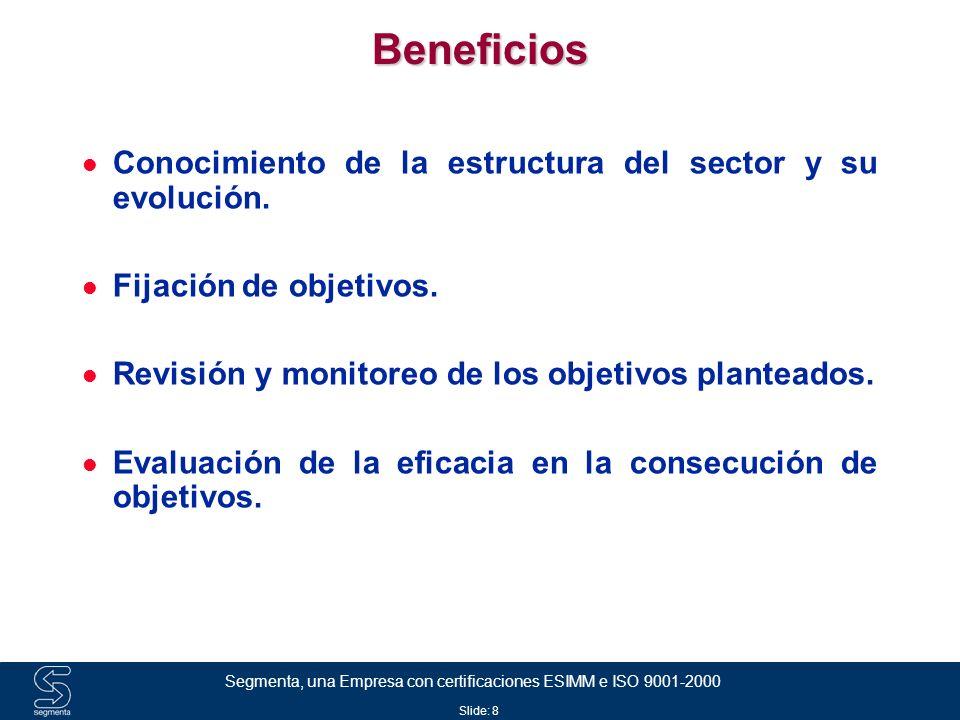 Slide: 9 Segmenta, una Empresa con certificaciones ESIMM e ISO 9001-2000 Beneficios Reportes Mensuales generados de una base de datos histórica que permite realizar análisis de tendencia Reportes gráficos trimestrales Validación continua de la información que garantiza la calidad de la misma Soporte para el mejor aprovechamiento de la información