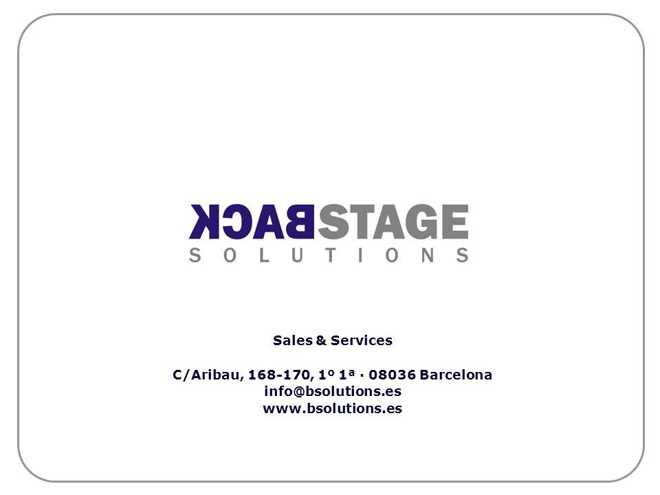 Sales & Services C/Aribau, 168-170, 1º 1ª · 08036 Barcelona info@bsolutions.es www.bsolutions.es