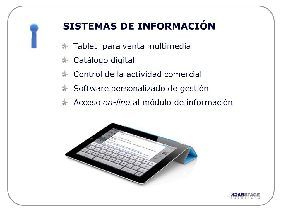 SISTEMAS DE INFORMACIÓN Tablet para venta multimedia Catálogo digital Control de la actividad comercial Software personalizado de gestión Acceso on-li