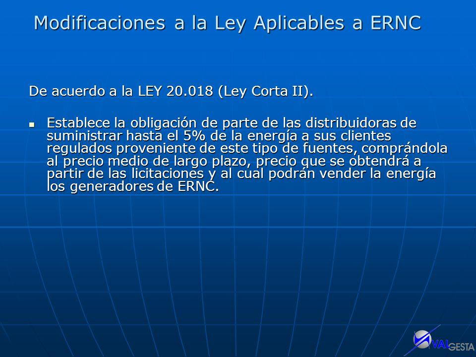 Modificaciones a la Ley Aplicables a ERNC De acuerdo a la LEY 20.018 (Ley Corta II). Establece la obligación de parte de las distribuidoras de suminis