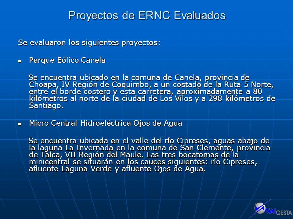 Proyectos de ERNC Evaluados Se evaluaron los siguientes proyectos: Parque Eólico Canela Parque Eólico Canela Se encuentra ubicado en la comuna de Cane