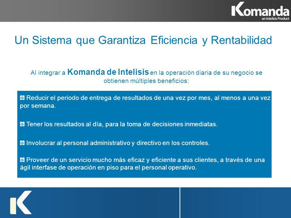 Al integrar a Komanda de Intelisis en la operación diaria de su negocio se obtienen múltiples beneficios: Reducir el periodo de entrega de resultados