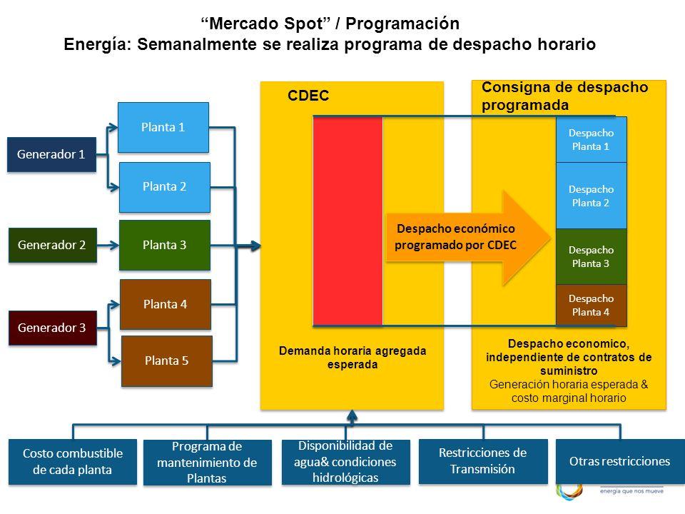 CDEC Demanda horaria agregada esperada Programa de mantenimiento de Plantas Disponibilidad de agua& condiciones hidrológicas Otras restricciones Gener