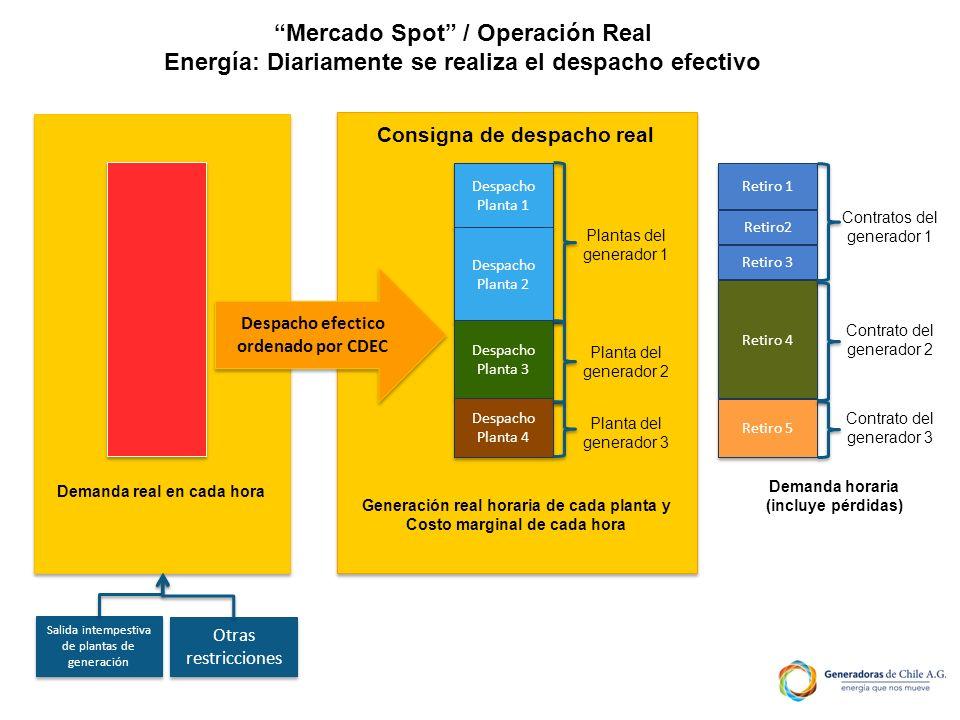 Demanda real en cada hora Salida intempestiva de plantas de generación Otras restricciones Despacho efectico ordenado por CDEC Generación real horaria