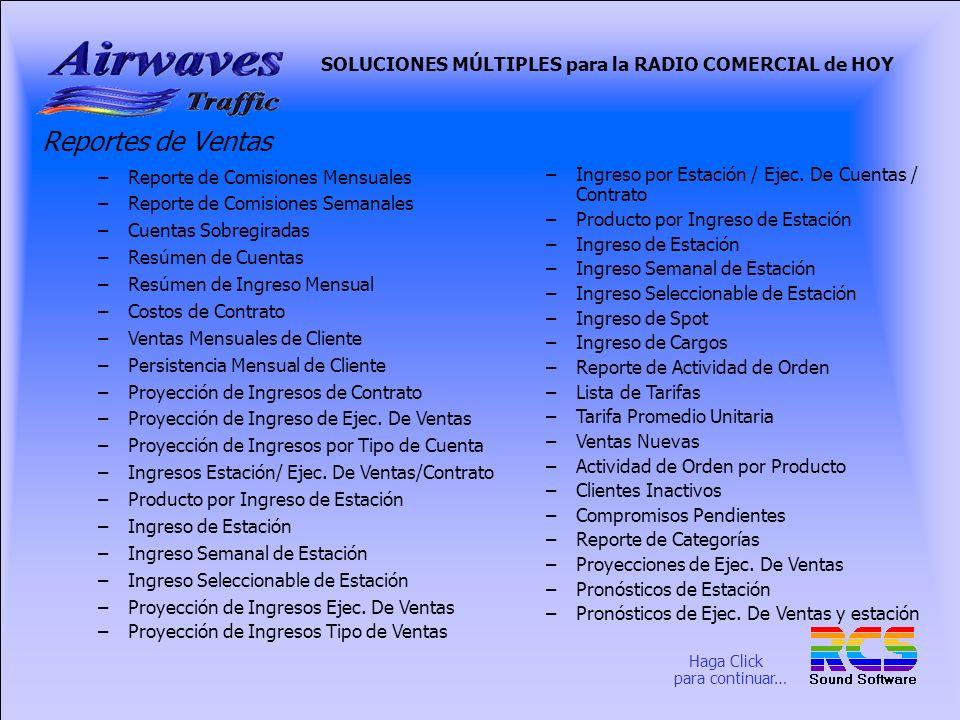 SOLUCIONES MÚLTIPLES para la RADIO COMERCIAL de HOY Menú de Reportes de Ventas Aquí se muestran los reportes disponibles del Menú de Reportes en la Sección de Ventas.