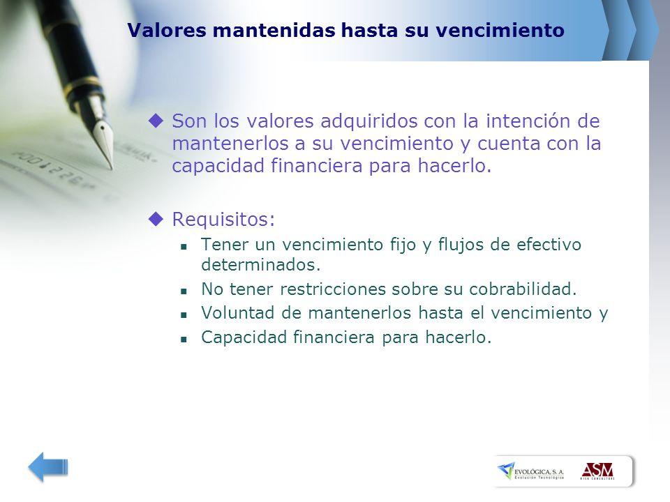 Valores mantenidas hasta su vencimiento Son los valores adquiridos con la intención de mantenerlos a su vencimiento y cuenta con la capacidad financiera para hacerlo.