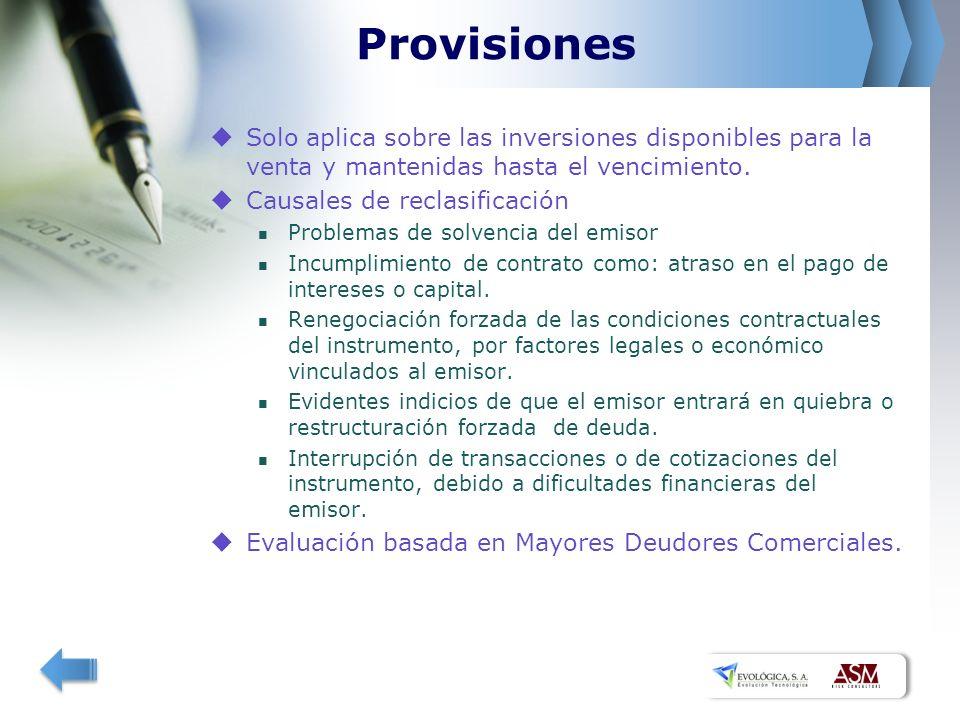 Provisiones Solo aplica sobre las inversiones disponibles para la venta y mantenidas hasta el vencimiento. Causales de reclasificación Problemas de so