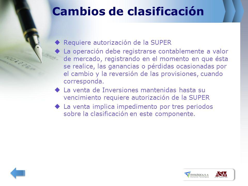 Cambios de clasificación Requiere autorización de la SUPER La operación debe registrarse contablemente a valor de mercado, registrando en el momento en que ésta se realice, las ganancias o pérdidas ocasionadas por el cambio y la reversión de las provisiones, cuando corresponda.