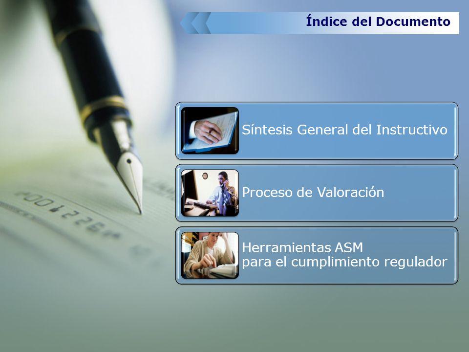 Índice del Documento Síntesis General del Instructivo Proceso de Valoración Herramientas ASM para el cumplimiento regulador