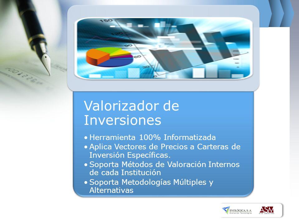 Valorizador de Inversiones Herramienta 100% Informatizada Aplica Vectores de Precios a Carteras de Inversión Específicas. Soporta Métodos de Valoració