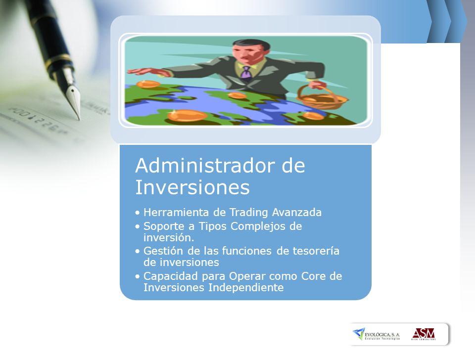 Administrador de Inversiones Herramienta de Trading Avanzada Soporte a Tipos Complejos de inversión.
