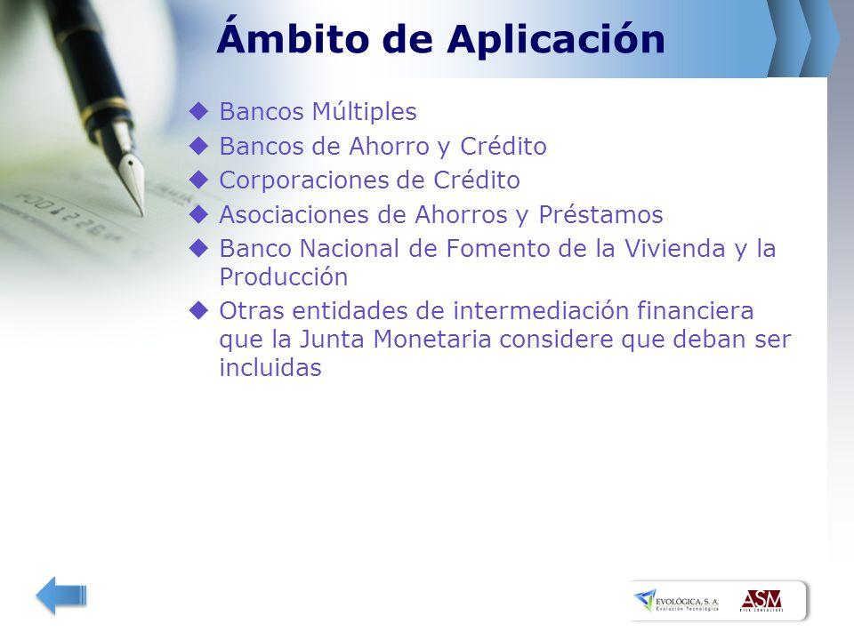 Ámbito de Aplicación Bancos Múltiples Bancos de Ahorro y Crédito Corporaciones de Crédito Asociaciones de Ahorros y Préstamos Banco Nacional de Fomento de la Vivienda y la Producción Otras entidades de intermediación financiera que la Junta Monetaria considere que deban ser incluidas
