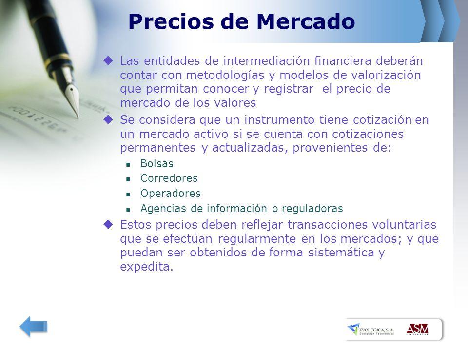 Precios de Mercado Las entidades de intermediación financiera deberán contar con metodologías y modelos de valorización que permitan conocer y registr
