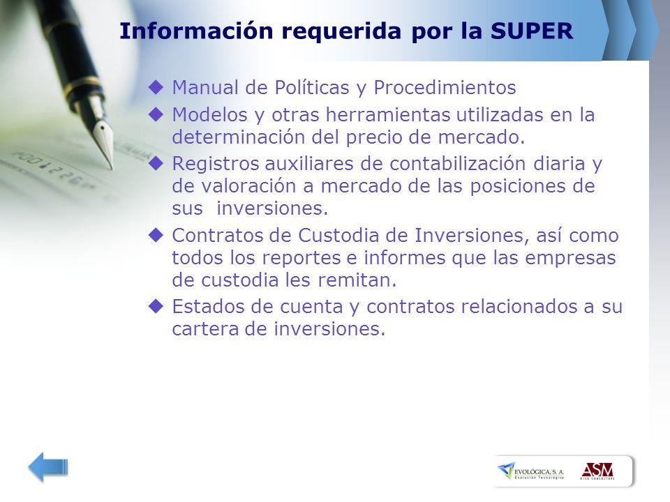 Información requerida por la SUPER Manual de Políticas y Procedimientos Modelos y otras herramientas utilizadas en la determinación del precio de merc