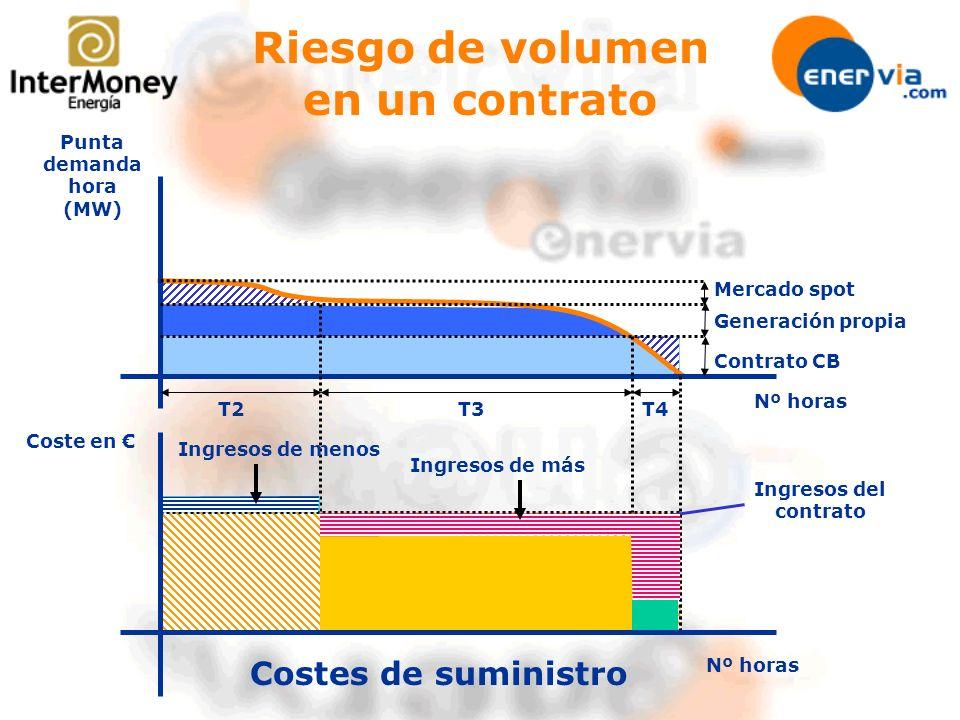 Nº horas Punta demanda hora (MW) Mercado spot Generación propia Contrato CB Coste en T3T4T2 Costes de suministro Ingresos del contrato Ingresos de más
