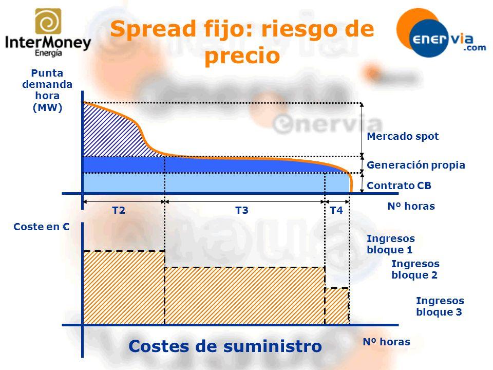 Nº horas Punta demanda hora (MW) Mercado spot Generación propia Contrato CB Coste en T3T4T2 Costes de suministro Spread fijo: riesgo de precio Ingreso
