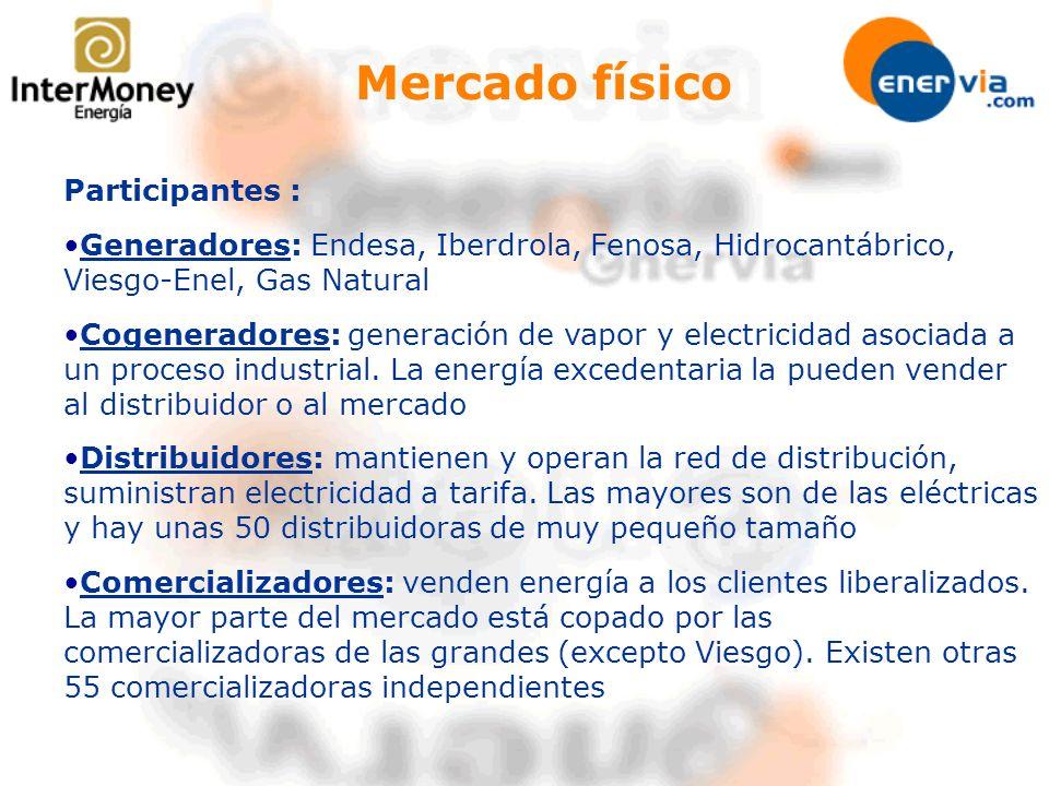 Participantes : Generadores: Endesa, Iberdrola, Fenosa, Hidrocantábrico, Viesgo-Enel, Gas Natural Cogeneradores: generación de vapor y electricidad as