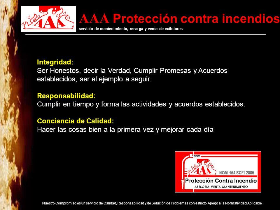 AAA Protección contra incendios servicio de mantenimiento, recarga y venta de extintores Nuestro Compromiso es un servicio de Calidad, Responsabilidad y de Solución de Problemas con estricto Apego a la Normatividad Aplicable Nuestros Servicios: Recarga, Mantenimiento y Venta de Extintores Capacitación a Brigadas de Emergencia Convenio con el campo de emtrenamiento profesional: Cetesis para Brigadas de Emergencia.