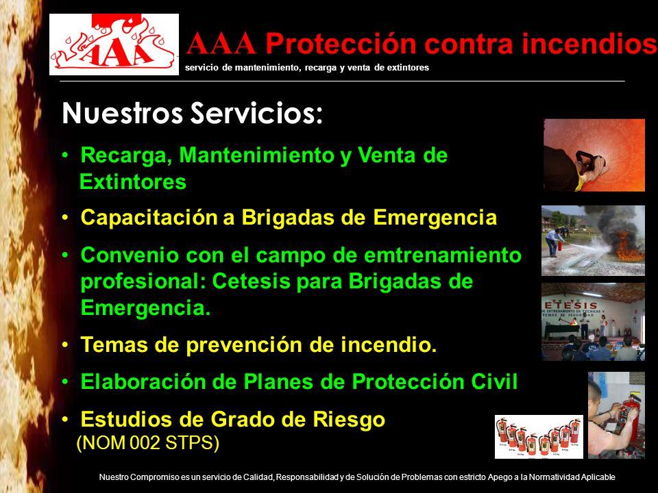 AAA Protección contra incendios servicio de mantenimiento, recarga y venta de extintores Nuestro Compromiso es un servicio de Calidad, Responsabilidad y de Solución de Problemas con estricto Apego a la Normatividad Aplicable NORMA OFICIAL MEXICANA NOM-154-SCFI-2005 EQUIPOS CONTRA INCENDIO- EXTINTORES- SERVICIO DE MANTENIMIENTO Y RECARGA Cumplimiento legal En Proceso de Acreditación