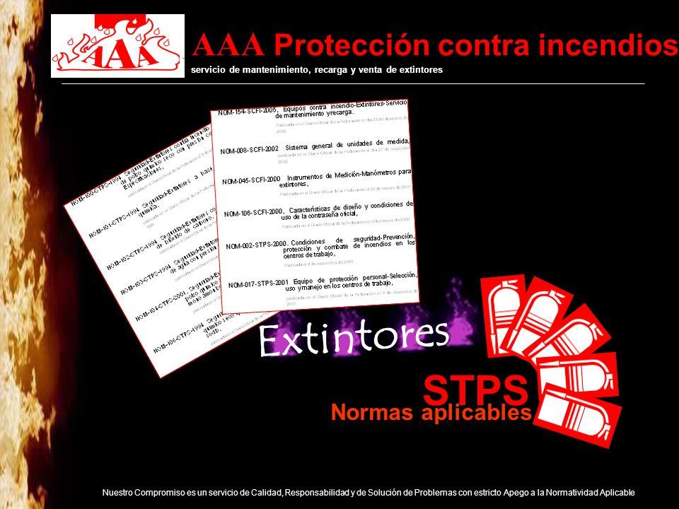 AAA Protección contra incendios servicio de mantenimiento, recarga y venta de extintores Nuestro Compromiso es un servicio de Calidad, Responsabilidad y de Solución de Problemas con estricto Apego a la Normatividad Aplicable Asociación Mexicana de Equipo Contra Incendio y Recargadores de Extintores, A.C.