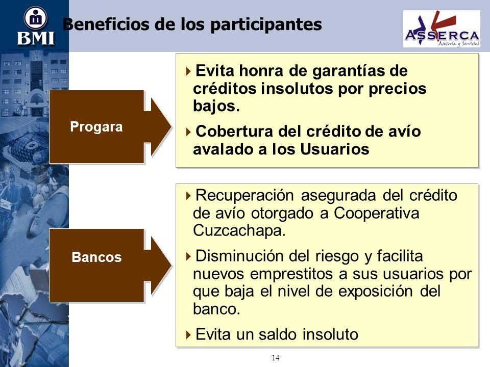 14 Beneficios de los participantes Recuperación asegurada del crédito de avío otorgado a Cooperativa Cuzcachapa. Disminución del riesgo y facilita nue