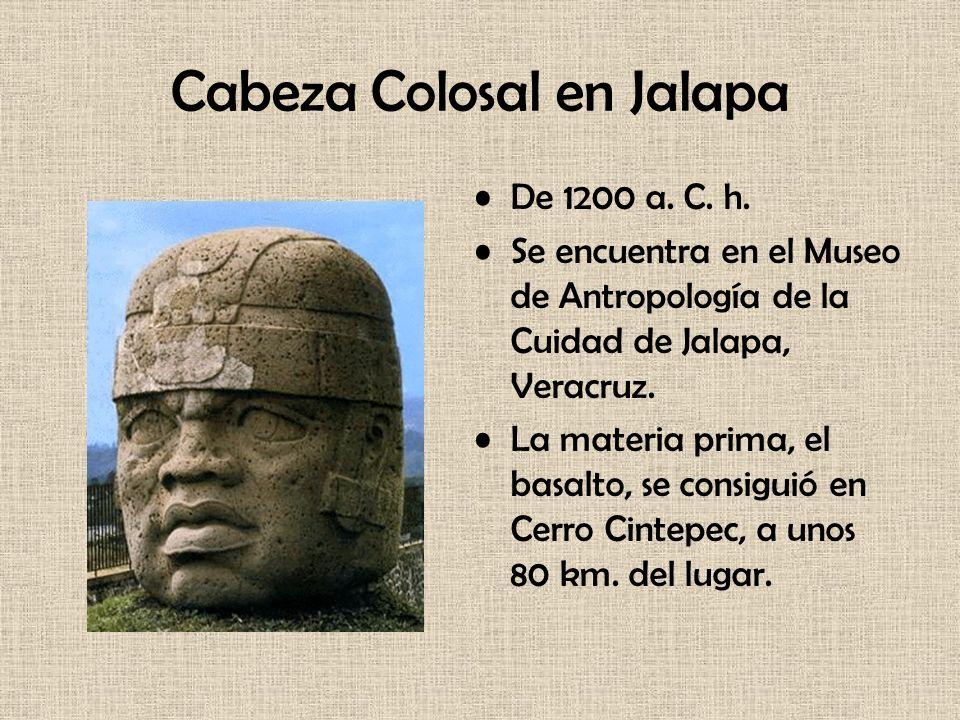 Cabeza Colosal en Jalapa De 1200 a. C. h. Se encuentra en el Museo de Antropología de la Cuidad de Jalapa, Veracruz. La materia prima, el basalto, se