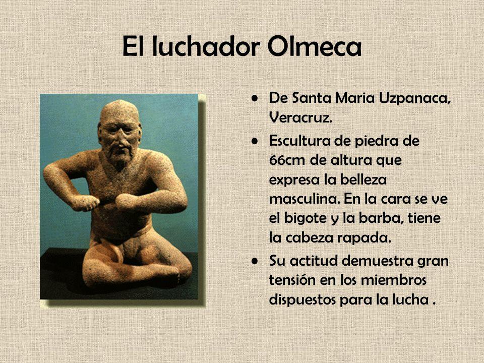 El luchador Olmeca De Santa Maria Uzpanaca, Veracruz. Escultura de piedra de 66cm de altura que expresa la belleza masculina. En la cara se ve el bigo